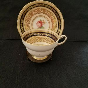 Vintage Paragon Teacup & Saucer Black & Gold